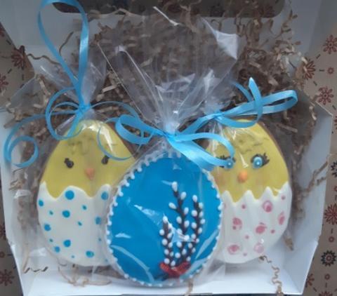 Пасхальный набор пряников без глютена 2 птенца и яйцо с вербой