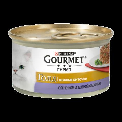 Gourmet Gold Консервы для кошек Нежные биточки с Ягненком и зеленой фасолью