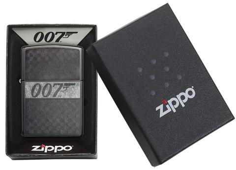 Зажигалка Zippo James Bond с покрытием Black Ice, латунь/сталь, чёрная, глянцевая, 36x12x56 мм123