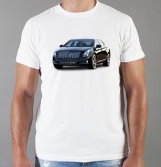 Футболка с принтом Кадиллак (Cadillac) белая 005