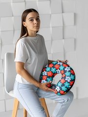 Подушка для шеи, подголовник Gekoko «Цветы», разноцветная 4