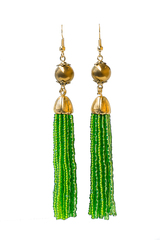 Серьги бисерные зеленые длинные из 18 нитей