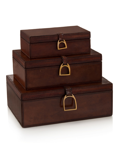Set of Three Lacquered Hazel Leather Boxes
