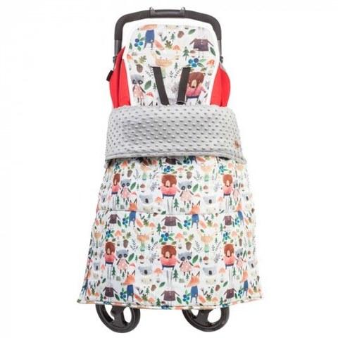 Одеяло - накидка на ноги в коляску Mammie Зверята на сером 18-51650