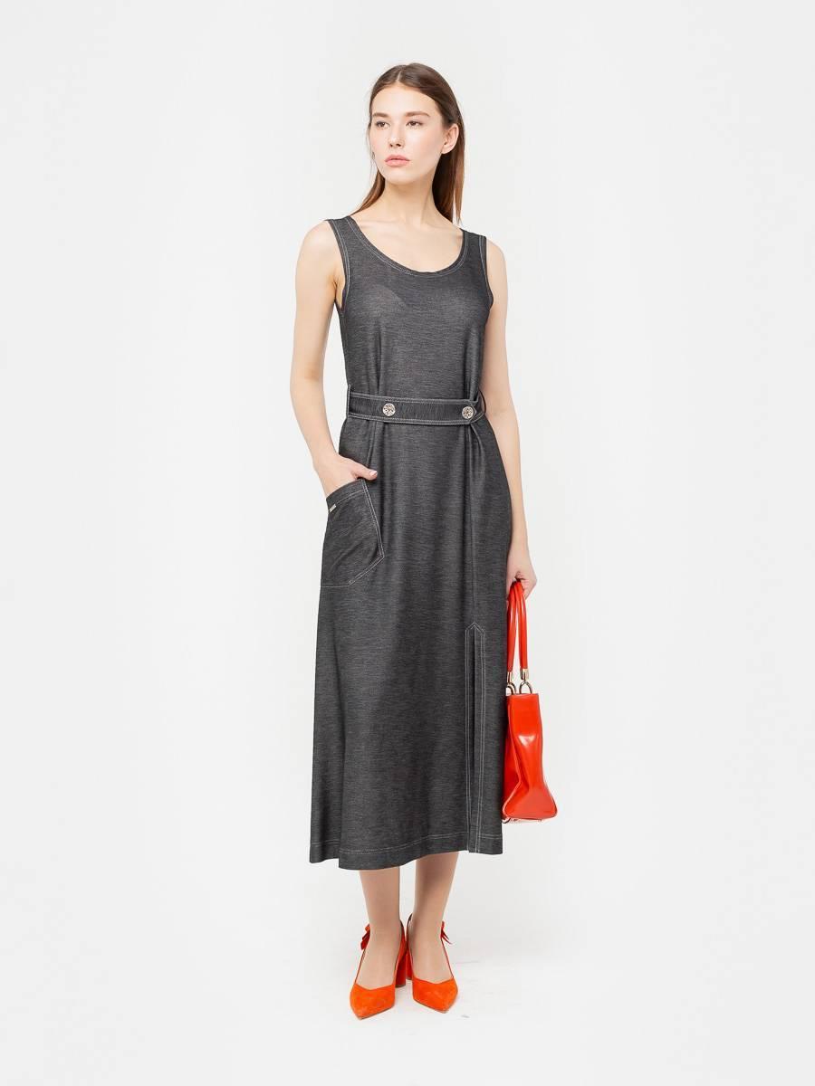 Платье З294-646 - Платье-майка; настоящая находка, причем независимо от изменений в сезонных трендах. Джинсовый трикотаж прекрасно держит форму и хорошо садится на фигуру. Отлично сочетается как с обувью на каблуках, так и с кедами. Комфортная и стильная модель для путешествий или повседневных будней