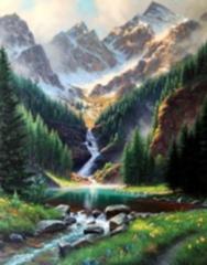 Картина раскраска по номерам 40x50 Сказочный вид на водопад и горы