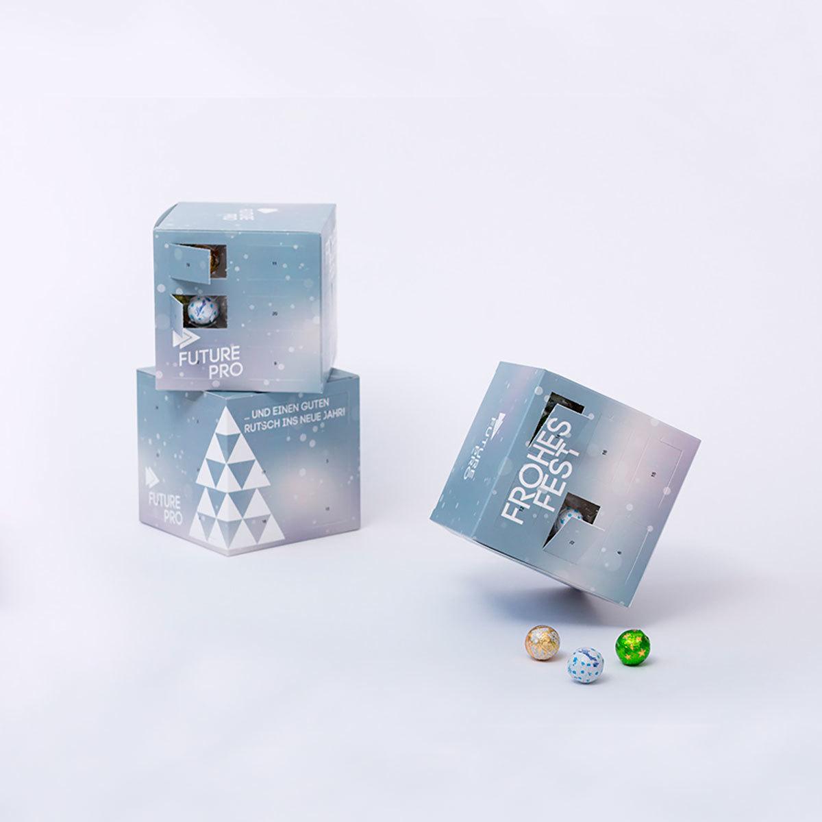 Адвент календарь «Куб» с логотипом компании и конфетами