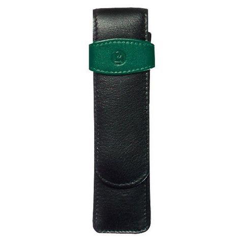 Футляр Pelikan TG22 для 2х ручек черный/зеленый натур.кожа