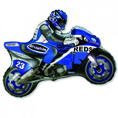 Фольгированный шар Мотоциклист синий