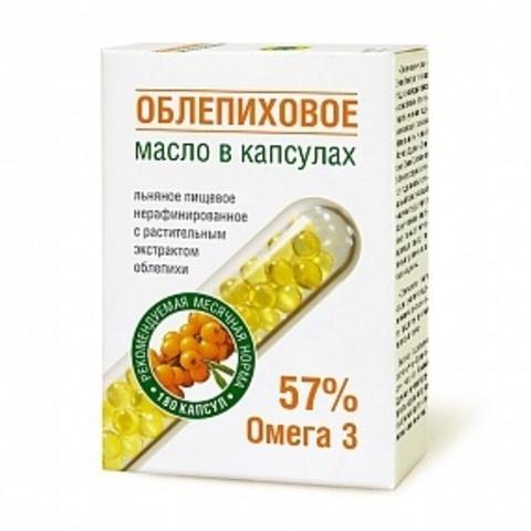 Масло льняное Облепиховое в капсулах,180шт. по 0,3г (Компас Здоровья)