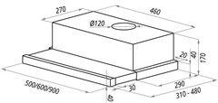 Вытяжка Maunfeld VS Light Glass (C) 60 белый схема