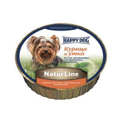 HAPPY DOG Паштет для собак с курицей и уткой Natur Line Huhn und Ente 1500 г. (125г.*12)