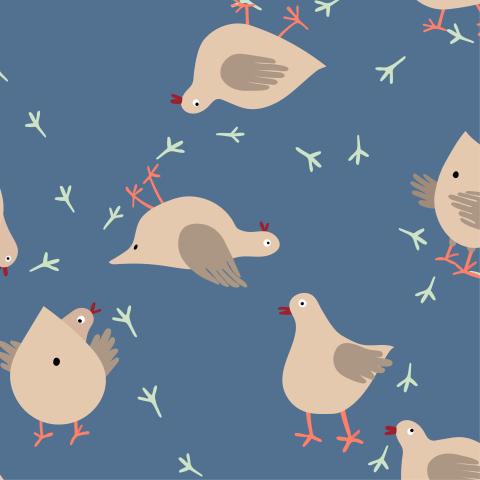 Милый паттерн с забавными голубями на синем фоне