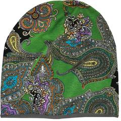Женская шапочка бини с принтом Огурцы (Пейсли) на зеленом фоне