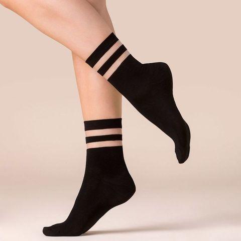 Носочки с резинкой в полоску Cami черные
