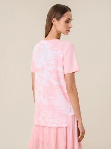 Женская футболка розового цвета из вискозы - фото 2
