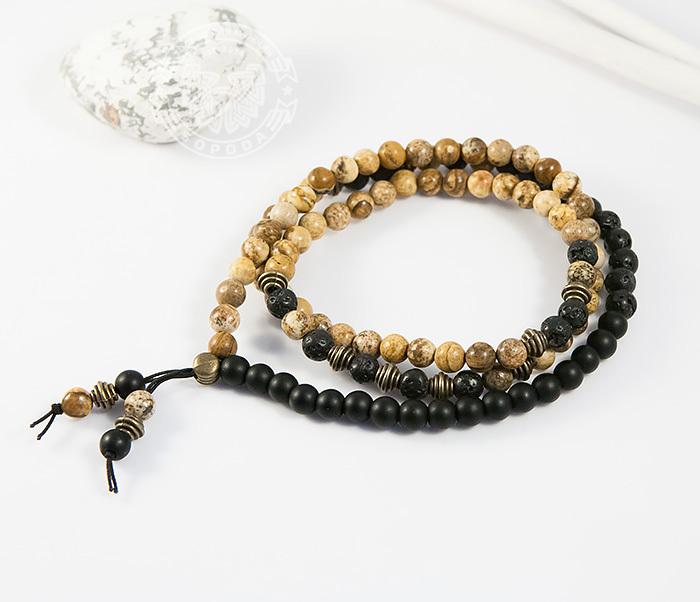 BS722-1 Мужской браслет ручной работы из яшмы, шунгита и лавы, «Boroda Design»