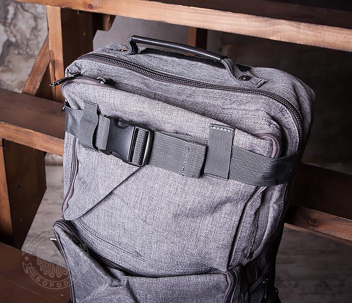 BAG405-2 Вместительный мужской рюкзак трансформер сумка для города из ткани фото 03