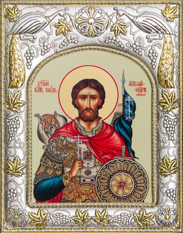 Серебряная икона именная Александр Невский 18x14см