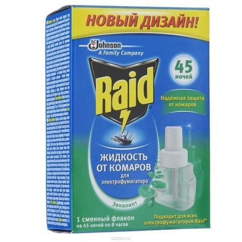 Жидкость от комаров д/фумигатора Raid Эвкалипт 32,9мл 45 ночей