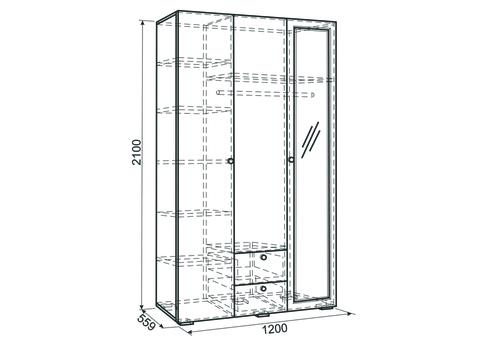 Шкаф 3-створчатый Гламур