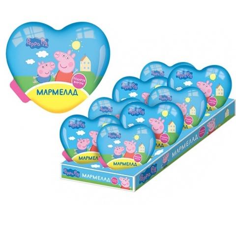 СВИНКА ПЕППА Мармелад в пластиковом сердце с игрушкой 1кор*8бл*8шт, 10г.