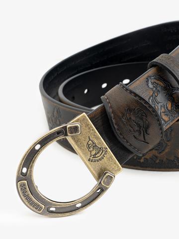 Ремень «Вольные кони» состаренный серо-коричневого цвета