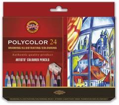 Набор художественных цветных карандашей POLYCOLOR 24 цвета, 2 штуки чернографитных карандаша 1500 и точилка в картонной коробке