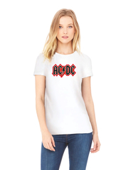 Футболка с принтом AC DC (Рок) белая w001