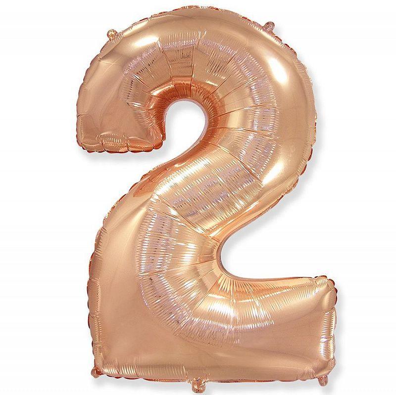 Фольгированная цифра 2, розовое золото