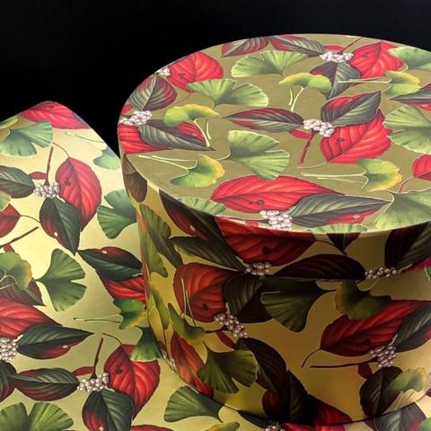 Коробка круглая диаметр 23 см Листья на золоте