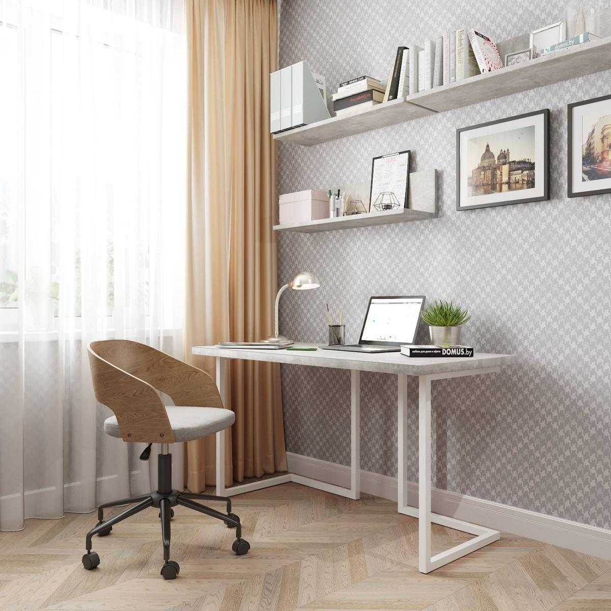 Письменный стол ДОМУС Урбан-1 бетон серый/металл белый