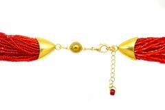 Бисерное ожерелье из 36 нитей красное длинное