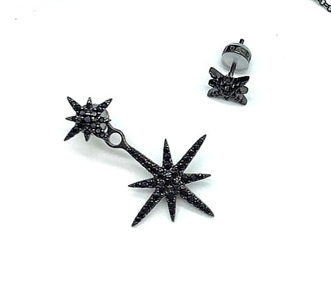 AE8421 - Ассиметричные пусеты трансформеры Meteorites noires из серебра с цирконами