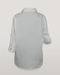 Блузка Belka 2030 надпись однотон 3/4 белая
