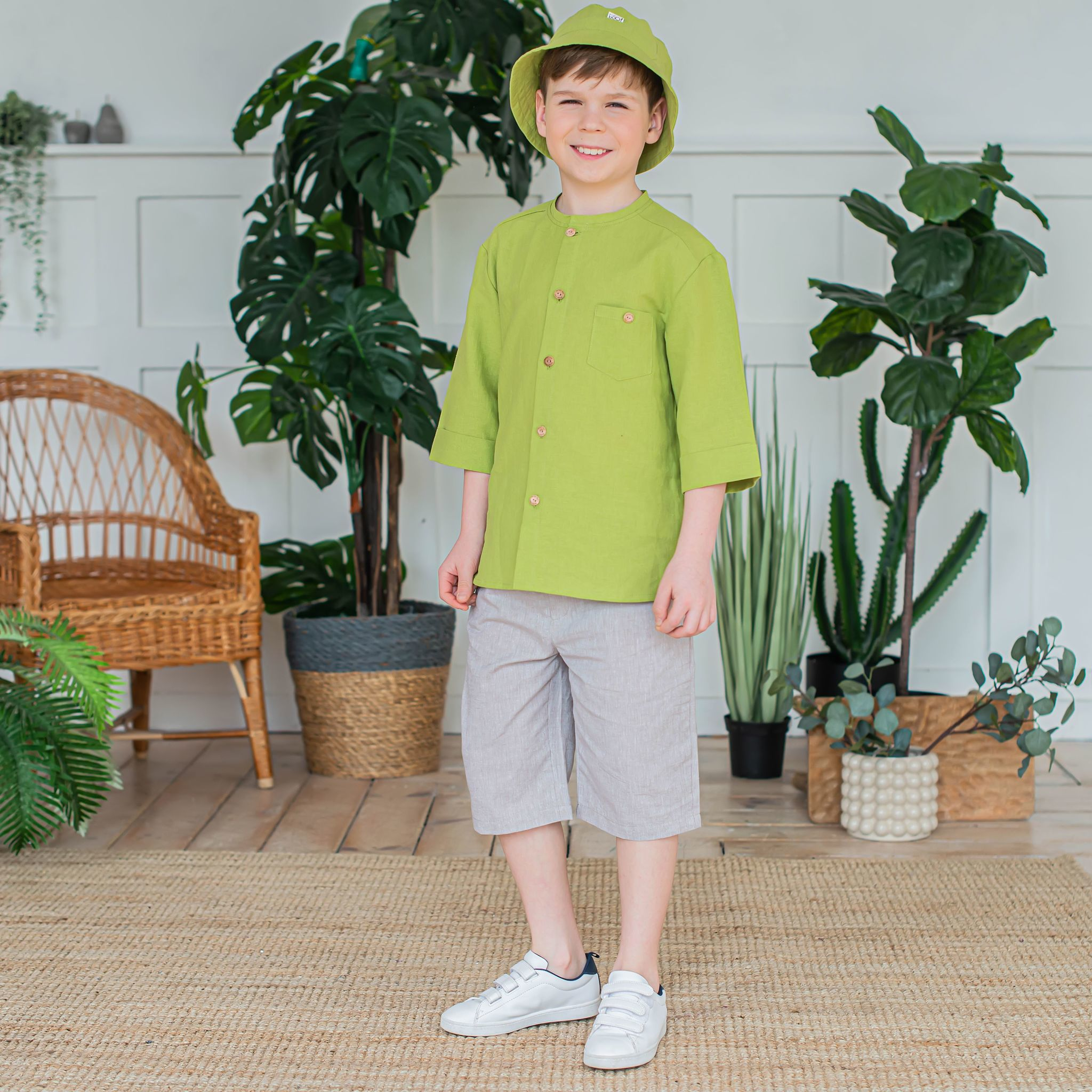 Cotton bermuda shorts for teens - Beige Melange