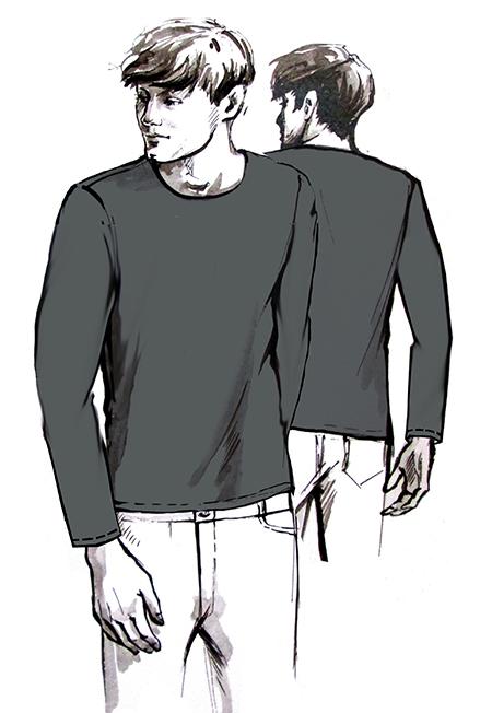 Лекала мужской футболки с длинным рукавом