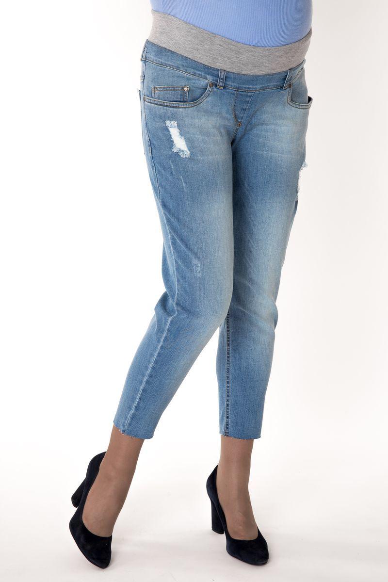 Фото джинсы-бойфренды для беременных MAMA`S FANTASY, укороченные, потертости от магазина СкороМама, голубой, размеры.