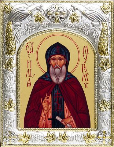 Серебряная икона именная Илия Муромец 18x14см