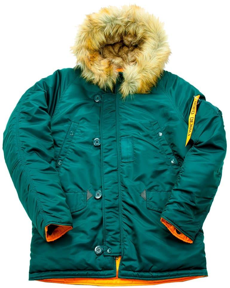 Куртка Аляска  укороченная Husky Short Denali (бирюзовый - dark petrol/orange)