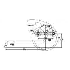Смеситель KAISER Carlson Style 44255/44224  для ванны схема