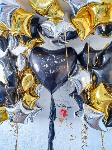 Воздушный шар черное сердце
