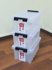 Ящик для хранения RoxBox с крышкой прозрачный 8 литров, набор из 3 штук