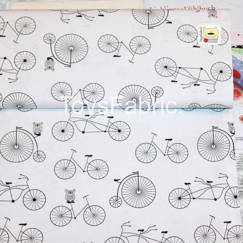 Ткань хлопок Польша П39 Велосипеды черно-белые (80х50см)