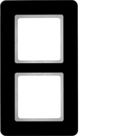 Рамка на 2 поста стекло. Цвет Чёрный. Berker (Беркер). Q.7. 10126076
