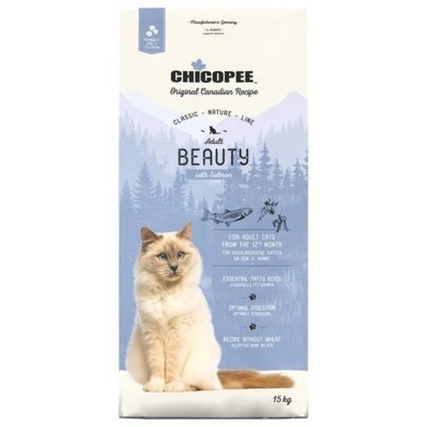 15 кг. Chicopee CNL Cat Adult Beauty сухой корм для взрослых кошек с лососем