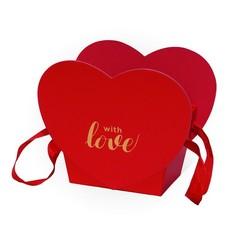 Коробка Для Цветов «Трапеция-сердце» Красный, 19,6см*12,5см*16,3см, 1 шт.