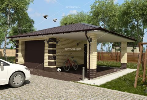 Проект гаража на 2 машины с навесом
