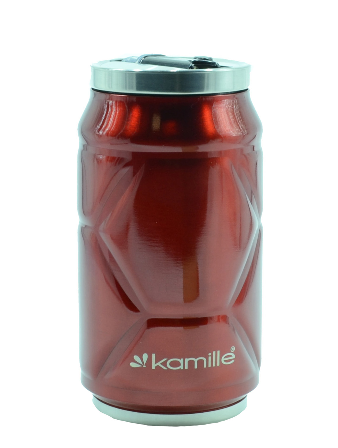 Термобанка с трубочкой Kamille 330 мл. красный