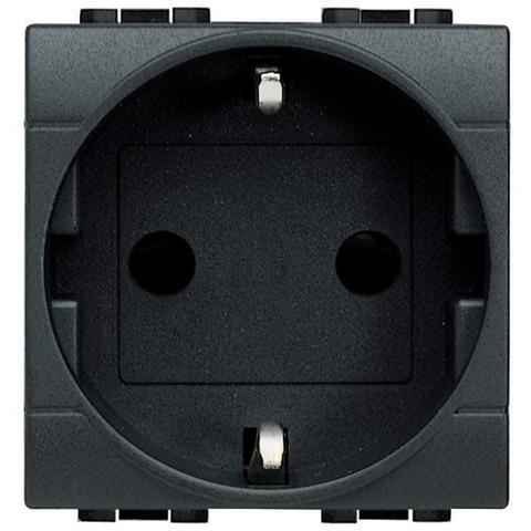 Розетка 2К+З, 10/16 А 250 В с заземляющими контактами Schuko, с защитными шторками, 2 модуля. Цвет Антрацит. Bticino Livinglight. L4141